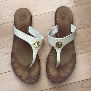 White Tory Burch Leather Sandals